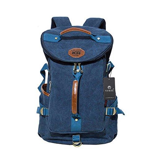 YAAGLE Canvas Rucksack Reisetasche Freizeit Schultertasche Rucksack Retrotasche Eimer-Tasche Schultasche-schwarz blau