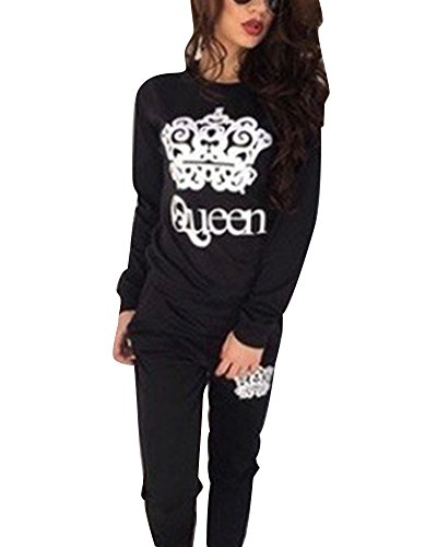 Femme Hoodie Sweat-shirt +Pantalon Col Rond Survêtement Ensemble De Sportwear Noir