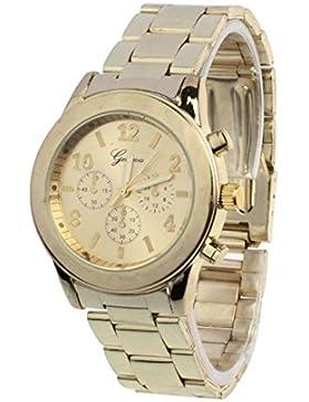 LHWY Damen Frauen Mädchen Unisex Edelstahl Quarz Armbanduhr (Gold)
