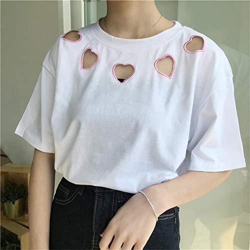 YANAIX Harajuku Stickerei Liebe T-Shirt Frauen Baumwolldruck Damen Tops Weibliche Kawaii Kleidung T-Shirts Für Frauen - Liebe Damen Kleidung