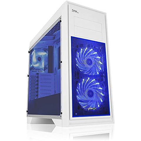 Game Max Scocca Titan per PC da gaming bianco Blue Fan (Rivestimento Di Raffreddamento Fan)