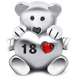 Sparkly-Jewels Teddybär mit Herz – Sterling-Silber 925 – passend für Pandora-, Biagi- und Troll-Armbänder