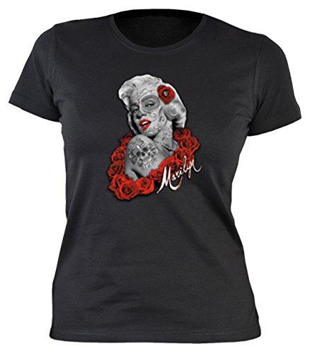 Marylin Damen T-Shirt de Los Muertos Tag der Toten Marilyn Monroe Tattoo Face Rote Rosen Gr. S :