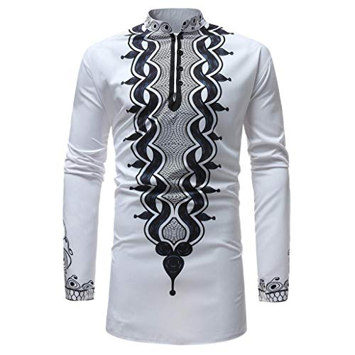 BUSIM Men's Long Sleeved Shirt Autumn Winter Luxury African Style Ethnic Style Printed Zipper High Collar T-Shirt...