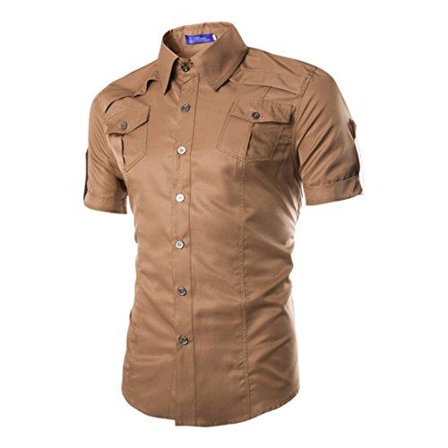 Men's Multi Pocket Short Sleeve Casual Shirts Kaki