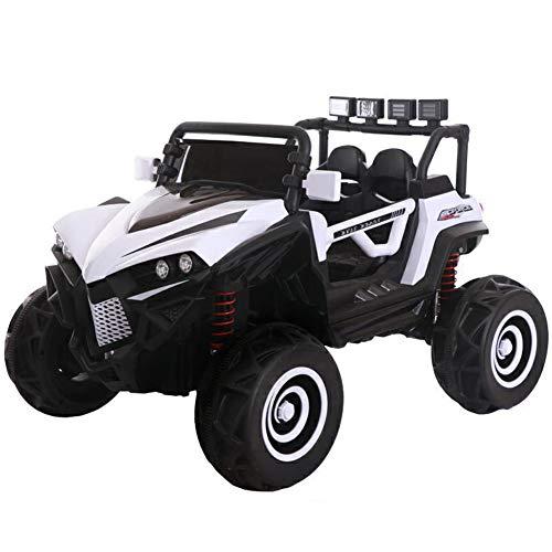 DDCX Kleinkind Kinder Elektroauto mit Vierradantrieb Jungen und Mädchen können ferngesteuert sitzen Zwei-Sitzer-Elektroauto-Kinderwagen mit Vier Rädern steuern,White