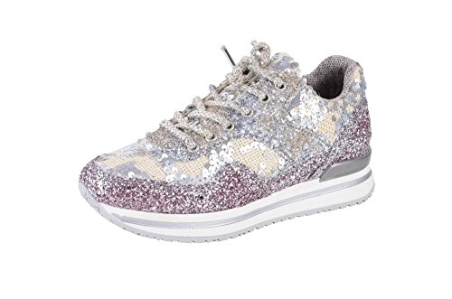 2Star Gold Schuhe Damen Rosa Weiß,Silber Pailletten Sneaker 40