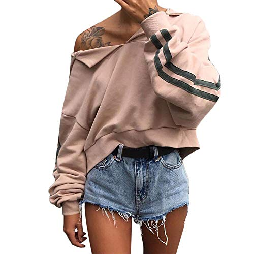 Hmeng Frauen Langarm Brief Drucken Sweatshirt Crop Top Hoodies (Khaki, L)