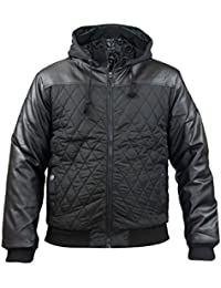 New Mens Soulstar Quilted Faux Leather Padded Jacket Zip Up Coat Full Sleeve