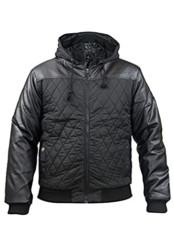 New Mens Soulstar Quilted Faux Leather Padded Jacket Zip Up Coat Large Black