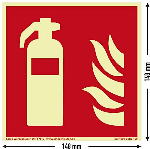 Schild Feuerlöscher | extra langnachleuchtend | PVC selbstklebend 148x148mm | DIN EN ISO 7010 F001 | DIN 67510 (Brandschutzzeichen) Dreifke® extra 160