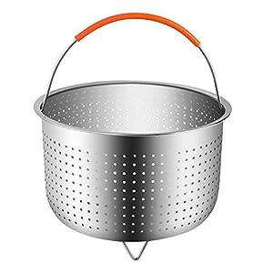 Dämpfkorb Dämpfeinsatz Instant Topf Zubehör Edelstahl Dampfeinsatz mit Silikon Griff Fit Schnellkochtopf Instant Pot für Dünsten von Gemüse Früchte Eier