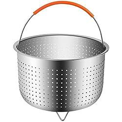 Rainnao Panier à Vapeur en INOX avec Poignée en Silicon, Accessoires cookeo pour autocuiseur Compatible avec La Plupart des Autocuiseurs, Idéal pour Cuire à la Vapeur des Légumes