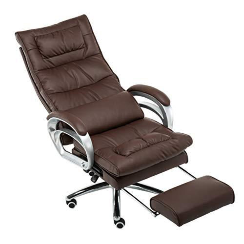 JJHOME-Stühle Möbel Executive Recline Extra gepolsterter Bürostuhl mit Fußstütze | Massagesessel für Computerspiele (Massage Lordosenstütze, Braun) -