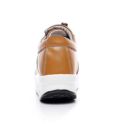 Shenn Donna Comodo Piattaforma Cuneo Allacciatura Pelle Addestratore Sneaker Scarpe 1062 Abbronzarsi