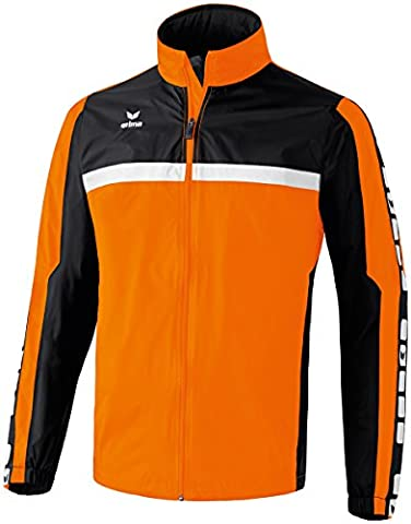 ERIMA Men's Classic 5-Cubes Rain Jacket - Orange/Black/White,