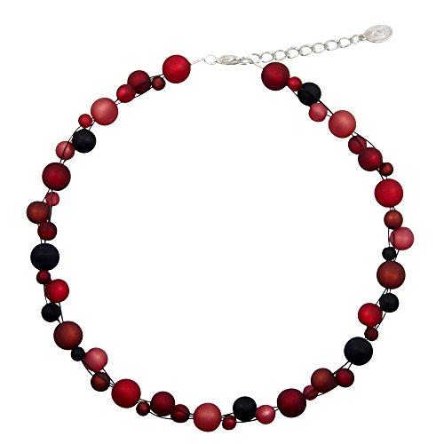 perla pd design Halskette aus echten Polarisperlen ca. 45 cm + 4.5 cm PK1228sw Bordeaux schwarz