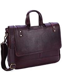 BORSE NDM Genuine Leather Cut Handle Laptop Bag | Flap Closure | Adjustable Leather Strap | Brown Cross Over Shoulder...