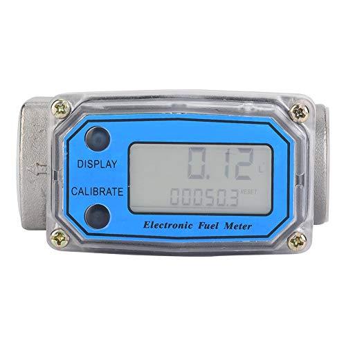 Durchflussmesser, digitaler Durchflussmesser mit LCD-Anzeige, für Kraftstofföl, Turbine, Diesel, Harnstoff, Kerosin, Benzin usw,LLW-25P Edelstahl,hohe Genauigkeit,15-120L / min 1Zoll NPT,blau -