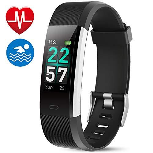 MEBUYZ Fitness Armband Fitness Tracker, Größerer Farbbildschirm Aktivitätstracker Ipx7 Wasserdicht mit Schrittzähler, Pulsmesser, Vibrationsalarm für iPhone/Android(Schwarz)