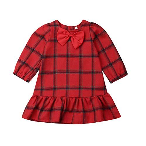 WEXCV Langarm Kleid, Weihnachten Baby Mädchen Kleid Winter Kinder Bow Gitter Party Kleid Prinzessin Kleid Weihnachten Outfits Kleidung Weihnachten Geschenke - Spencers Geschenke Kostüm