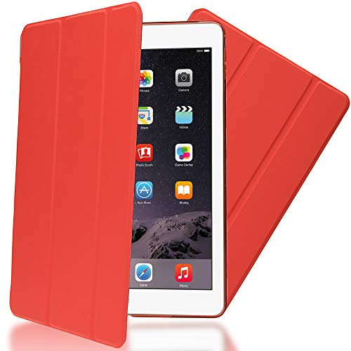 NALIA Smart-Case kompatibel mit iPad Air 2, Ultra-Slim Cover Dünne Tablet Schutzhülle, Kunst-Leder Hardcase Multi-Ständer Tasche, Display-Schutz & Backcover Flip-Case Klapphülle Sleeve - Rot