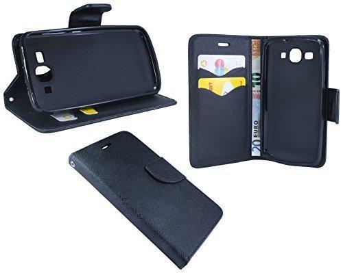 Huawei Ascend Y540 // Buchtasche Hülle Case Tasche Wallet BookStyle mit STANDFUNKTION Schwarz @ Energmix