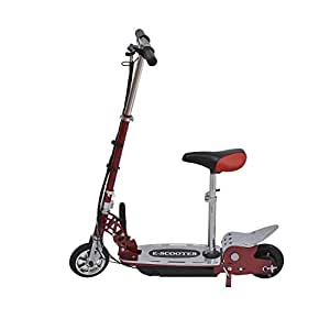 Qaba Electric 120W Kids Motorized Riding E Scooter w/ Seat - Red and Silver