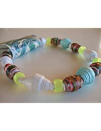 Handmade Friendship Unisex Paper Bead Bracelet with stretch Elastic by Mimi Pinto