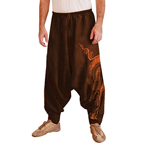MINIKIMI Haremshose Herren Yoga Hose Und Hippie Hose MäNner Bequeme Lose Pumphose Aladinhose Pluderhose Yoga Hosen Jogginghose Pants Sporthosen