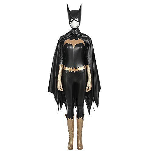 Batgirl Maske Kostüm - QWEASZER Frauen Batman Batgirl kostüm Erwachsene Body Onesies, mäntel, Schuhe, Handschuhe, Maske Halloween Movie Game Cosplay Kostüm Kostümfest Requisiten,Black-XXXL