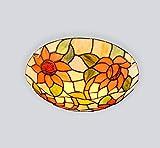 Plafoniera in stile Tiffany , Lampada da soffitto a LED in vetro colorato con montaggio a filo, parasole rotondo con fiore di sole for soggiorno Camera da letto Cucina Sala da pranzo Decorativa
