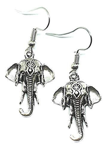 Eclectic Shop Uk Elefante Pendientes Plata Antigua Tono Boho Largos Ganesh Étnico...