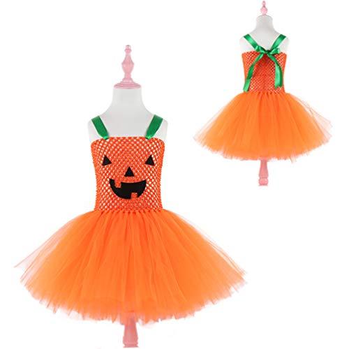 Eastern Corridor Baby Mädchen Halloween Kleid Kürbis ärmellos Tutu Prinzessin Rock Party Dress Up Kostüm Gr. 100 cm, einfarbig (Dress Up Tutu Kostüm)