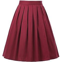 GRACE KARIN Faldas Rojas Floral Plisada Cortas Vintage Pin Up M 20#
