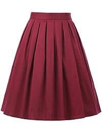 Belle Poque Femme Jupe Plissée aux Genoux Taille Ajustable avec Poche BP154