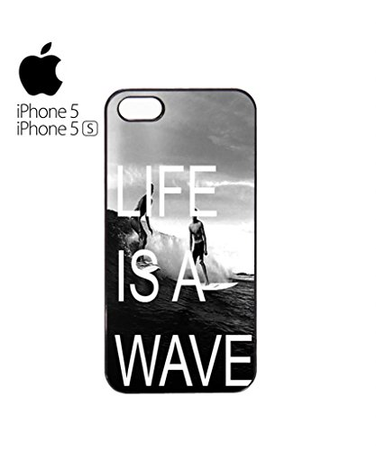 Life is a Wave Surfing Surfer Mobile Cell Phone Case Cover iPhone 5c Black Weiß