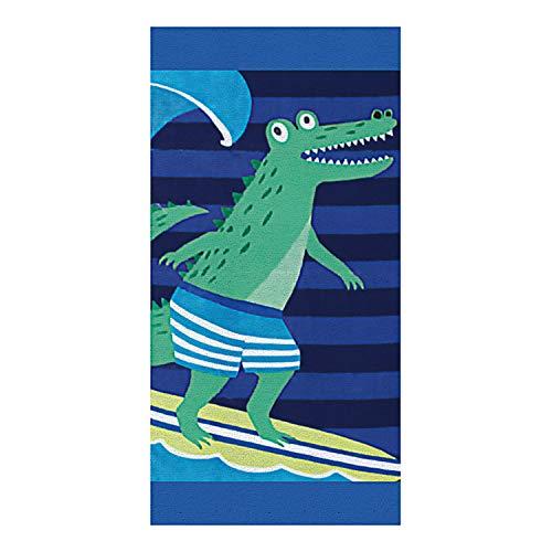 Langde Weich Strandtuch 100{8866bb23f67593d89d97aa73deb058a7f9ee57ada9595769822262ea4aa6d3a5} Baumwolle, 160x80 cm, Surfen Krokodil Tiere Motiv Strand Badetuch Saugfähig für Kinder & Erwachsene Yoga Reise - Blau