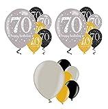 Feste Feiern Geburtstagsdeko 70. Geburtstag I 18 Teile Luftballon Deko-Set Gold Schwarz Silber metallic Party Happy Birthday Jubiläum 70