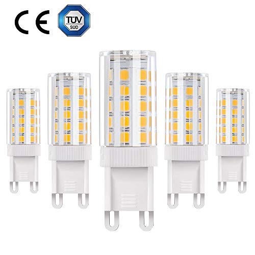 Vicloon G9 5W LED Lampadina,Lampadina Alogena 40W Equivalente,360° Angolo a fascio,Bianco Caldo 3000K,AC 200-240V,lampadina a risparmio energetico a LED,5-pezzi