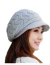 LEORX Cálido invierno de punto sombrero de vendedor de periódicos gorro nieve esquí Cap para mujer niña (gris)
