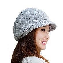 17348a291c85b LEORX Cálido invierno de punto sombrero de vendedor de periódicos gorro  nieve esquí Cap para mujer