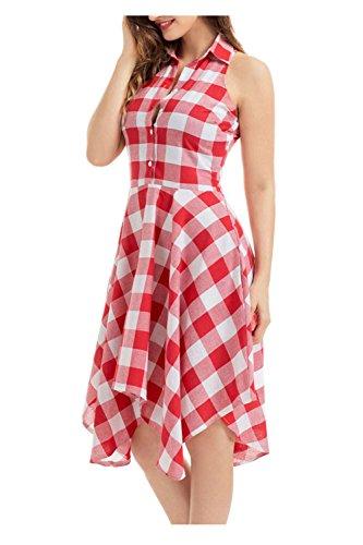 Issza Damen Ärmellos Kariert Plaid Button Midi Shirt Kleid Ohne Arm Schwingen Kleid Sommerkleid Partykleid Rot Weiß S (Rot Weiß Karierte Kleid)