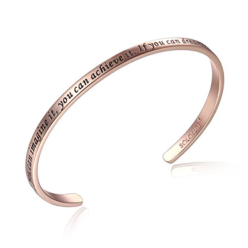 SOLOCUTE Rosegold Damen Armband mit Gravur 'If You Can Imagine It, You Can Achieve It. If You Can Dream It, You Can Become It' Inspiration Frauen Armreif Schmuck