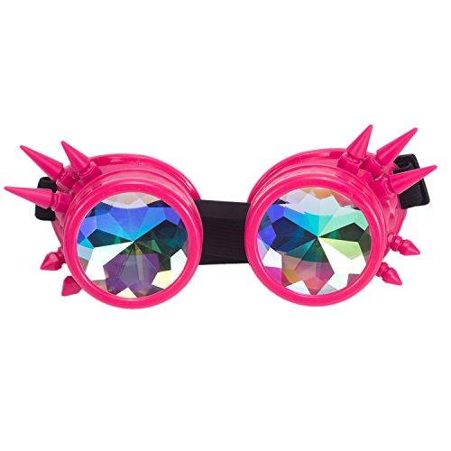 DODOING Kaleidoscope Goggles Weinlese-Art Gotische Retro Steampunk Cosplay Brille Glasses Welding Punk Brille (Rosa)