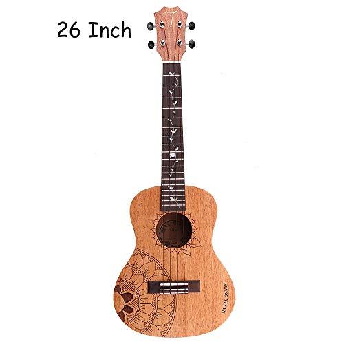 CuteLife Ukulele da Concerto 23/26 Pollici Standard C Strumento/T Tipo di Legno di Mogano Opaco Ukulele con Gig Bag Musicale for Principianti (Colore : As Shown, Dimensione : 26inch)