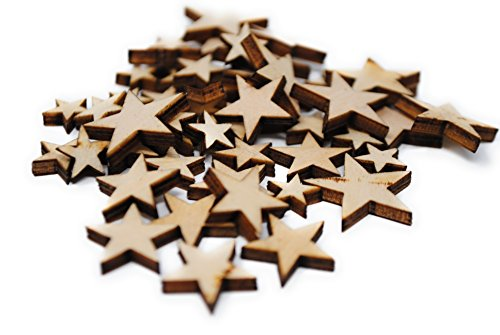 [Star Shaped] Wooden Embellishments - Mixed Mini Scrapbooking Shapes for Craft