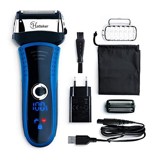 HATTEKER Elektrischer Rasierer Herren Folienrasierer Elektrorasierer Rasierapparat Mit Präzisionstrimmer Wasserdicht LED Display,schwarz/blau