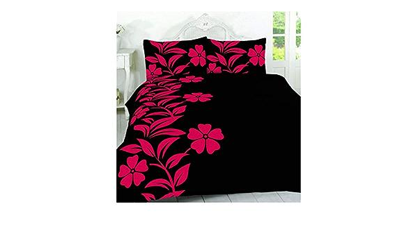 SUPER KING SIZE Parure de lit Alyssa Floral Rouge Noir En Polyester Feuilles
