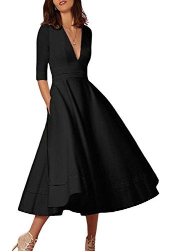 OMZIN Damen Kleid Wadenlang Cocktailkleid 50er Partykleid Faltenrock Vintage Kleid Schwarz L